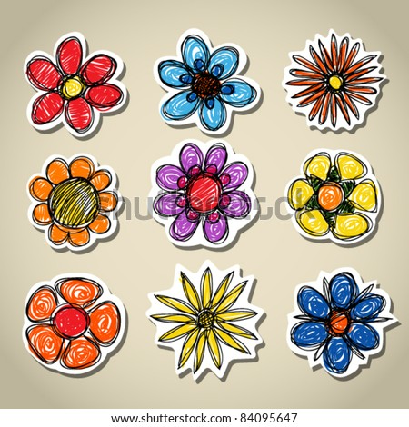 Abstract decorative colorful flowers set - stock vector