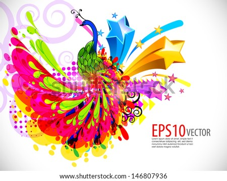 Abstract decorative colorful peacock design. Vector background
