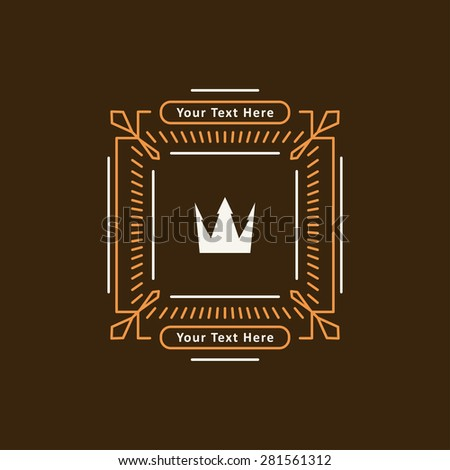 Abstract decorative in mono line style frame with crown and copy spaces for a logo or other design. Vector illustration. - stock vector