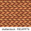 Abstract decorative textured wooden fiber basket weaving background. Seamless pattern. Vector. - stock vector