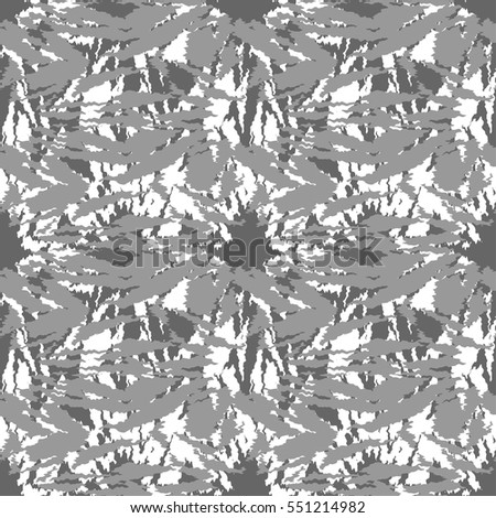 Abstract decorative vector background texture. Gray camouflage motif. Seamless pattern. Print template.