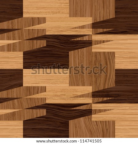 Abstract decorative wooden striped textured  illusion parquet mosaic background. Seamless pattern. Vector.