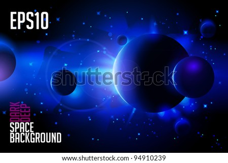Abstract Deep Space Background: Planets, Stars, Lights, Sun, Sunrise, Satellite, Alien eps10 Version 3 - stock vector