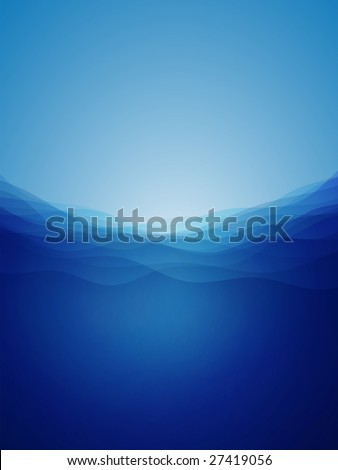 Abstract deep water waves with a mystical light. Vector background. - stock vector