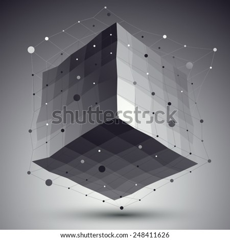Abstract deformed vector monochrome cube with lines mesh placed over dark background. - stock vector