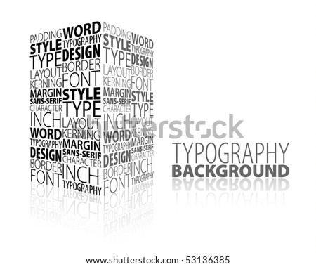 ... design and typography background with 3D element - stock vector