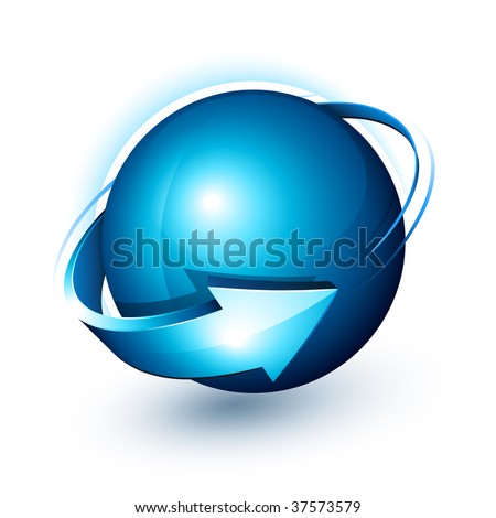 Abstract design, blue sphere and arrow - stock vector