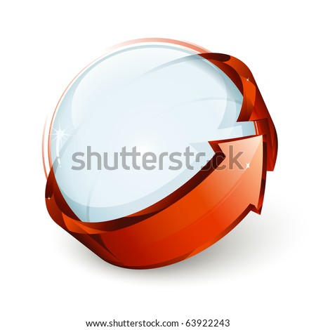 Abstract design, blue sphere and red arrow - stock vector