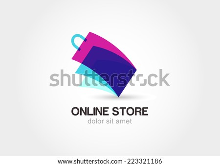 Abstract design concept for online store. Colorful shopping bag symbol. Vector logo template.  - stock vector