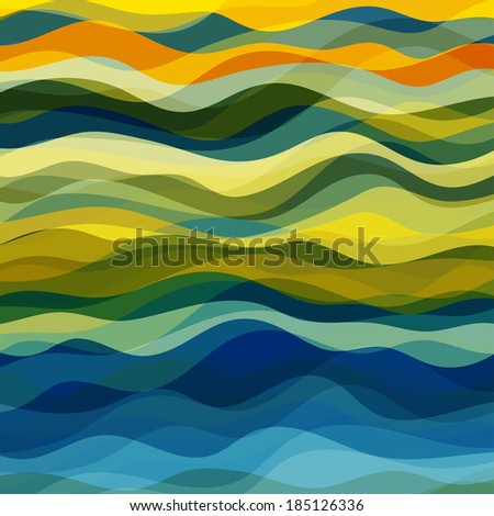 Abstract Design Creativity Background of Yellow and Green Waves, Vector Illustration EPS10 - stock vector