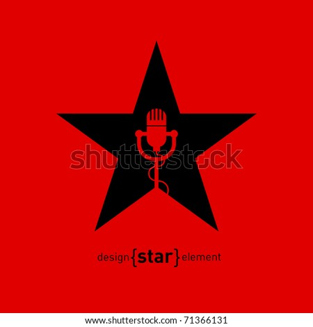 Abstract design element star with microphone. Corporate logo template - stock vector