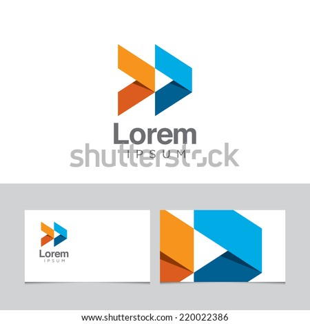 Abstract design element with business card template 08 - stock vector