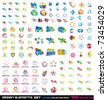 Abstract Design Elements 2D and 3D Extreme Collection with 132 colorful pieces - stock photo