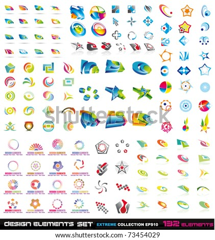 Abstract Design Elements 2D and 3D Extreme Collection with 132 colorful pieces - stock vector