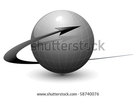 Abstract design grey globe with dynamic arrow, vector - stock vector