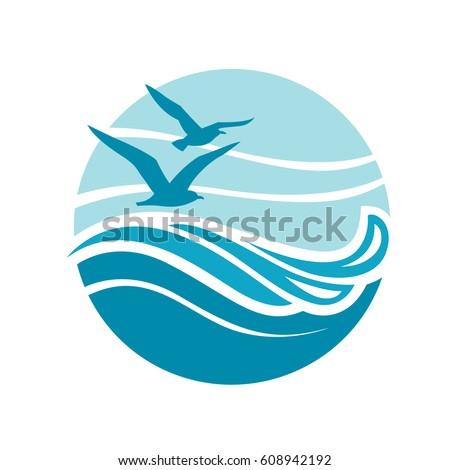 abstract design ocean logo waves seagulls stock vector 608942192 rh shutterstock com ocean logistics ltd ocean logistics ltd