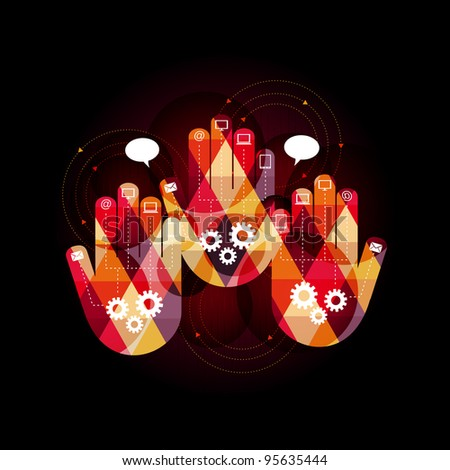 abstract design of three hands as a symbol of connection and communication - eps10 - stock vector