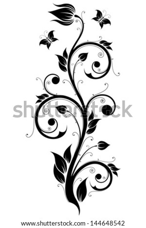 Abstract Design Ornament Element with Flowers and Butterflies - stock vector