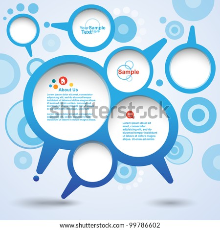 Abstract design speech Bubble set, vector - stock vector