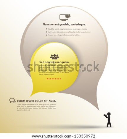 Abstract design - Speech bubble with icon. / can use for business concept / educaiton speech tect / brochure object. - stock vector