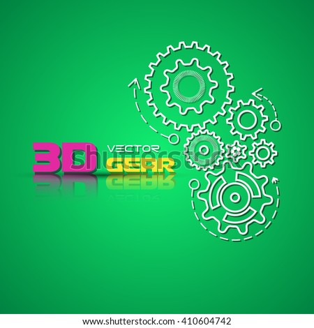 Abstract design template background with gears cogwheels for websites, infographics or business design banners. Vector illustration. - stock vector