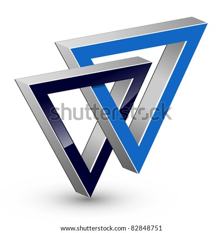 Abstract design, two united triangle, vector. - stock vector