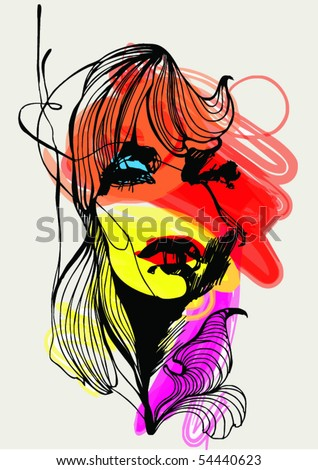 Abstract design with girl for T-shirt - stock vector