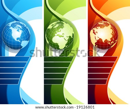 Abstract design with globe. Vector illustration. - stock vector