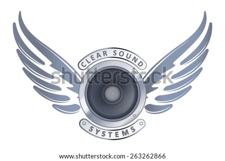 Abstract design with speaker. wings and captions Clear sound systems for logo or decor - stock vector