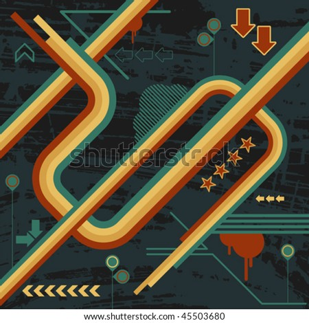 abstract design with various graphic elements and shapes - stock vector