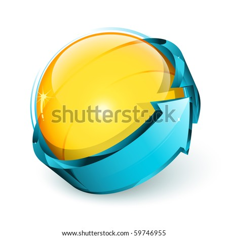 Abstract design, yellow sphere and blue arrow - stock vector