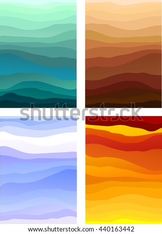 Abstract designs representing the four elements, or the four seasons. Also usable as decorative backgrounds - stock vector