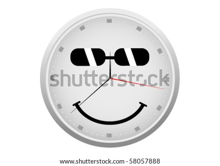Abstract detailed clock with a smiley face - stock vector