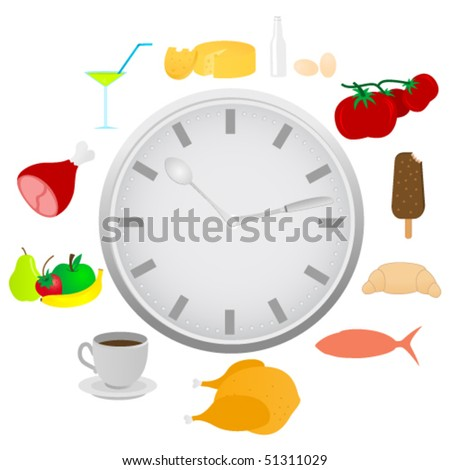 Abstract detailed clock with food and kitchen utensils - stock vector
