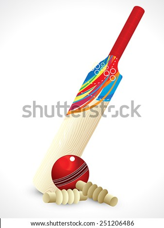 abstract detailed cricket bat vector illustration - stock vector