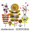 Abstract different flowers. - stock vector