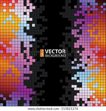 Abstract digital background with colorful pixels equalizer. RGB EPS 10 vector illustration - stock vector