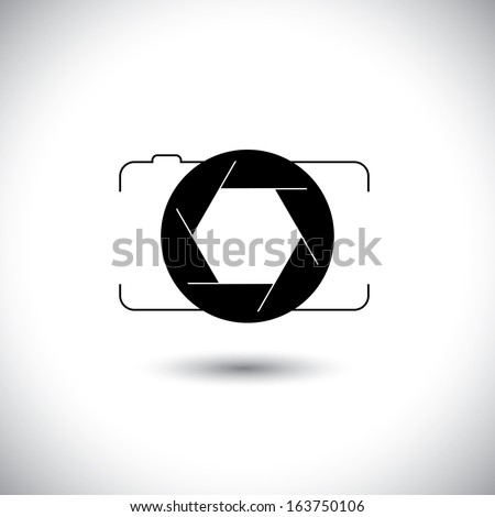 abstract digital camera & shutter icon outline front view. This vector graphic is simple vector representation of trendy photographic tool for taking photos & videos - stock vector