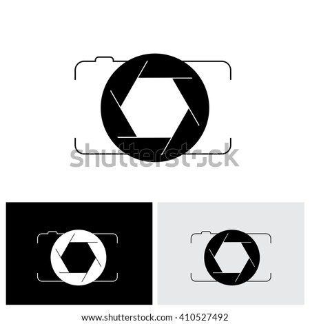 abstract digital camera & shutter logo icon outline front view. This vector graphic is simple vector representation of trendy photographic tool for taking photos & videos - stock vector