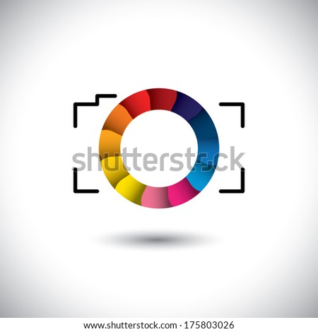 abstract digital camera with colorful shutter vector icon front view. This graphic is simple vector representation of trendy lens of SLR or point & shoot camera for taking photos & videos - stock vector