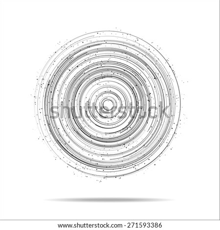 Abstract digital circles vector background with many dots - stock vector