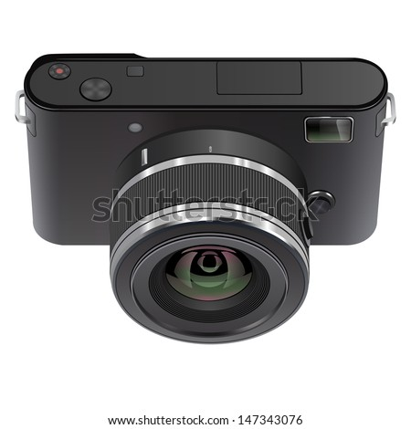 Abstract digital photo camera isolated on white. Vector illustration. - stock vector