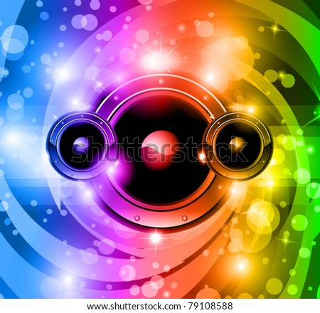 Abstract disco music background for nightlife event flyer or party poster with rainbow colors! - stock vector