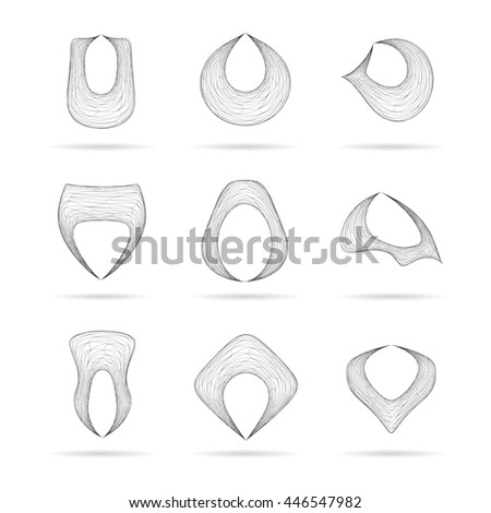 Abstract distorted symbols vector illustration. - stock vector