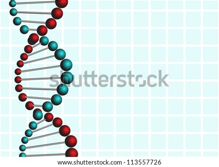 Abstract DNA over blue background, vector illustration