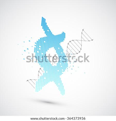 Abstract DNA pixel art  background. Vector illustration - stock vector