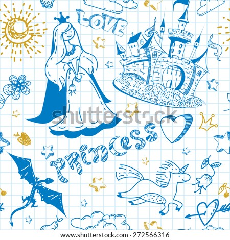 Abstract doodle fairy tale childish seamless pattern in vector. Hand-drawn pen and ink castle, unicorns, flowers, princess, hearts, dragons and cheerful labels on the background of the notebook sheet. - stock vector