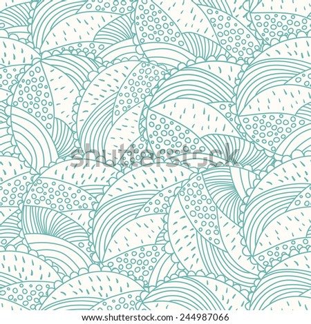 Abstract doodle floral seamless pattern. Outline background