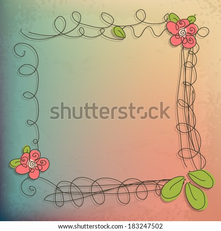 Abstract doodle flower roses with your text vector eps 10 - stock vector