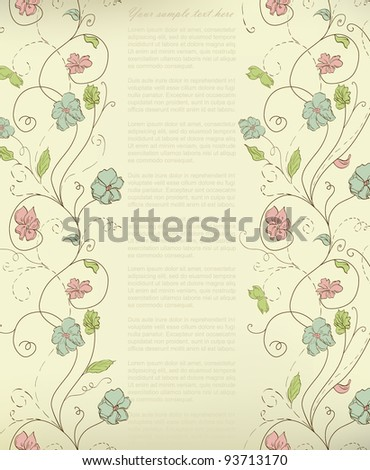 Abstract doodle flower with your text (vector eps 8) - stock vector